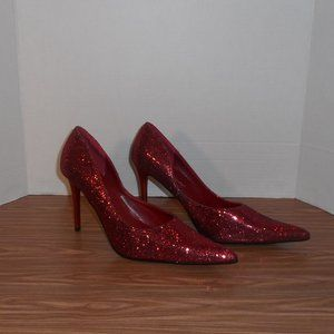 Herstyle red glitter pointed toe heels